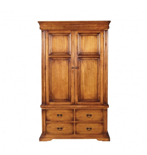 Dulap din lemn de stejar, cu 2 usi si 4 sertare Valentino Oak, l121xA65,5xH203 cm