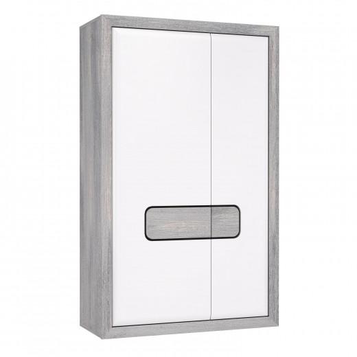 Dulap din pal, cu 2 usi Torrin Small, Stejar Ice Grey / Alb, l100,7xA41,7xH165 cm