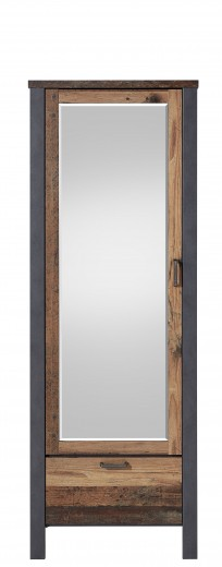 Dulap hol din pal cu oglinda, 1 usa si 1 sertar Chelsea Natural / Grafit, l69xA40xH194 cm