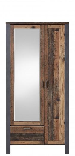 Dulap hol din pal cu oglinda, 2 usi si 1 sertar Chelsea Natural / Grafit, l94xA40xH194 cm