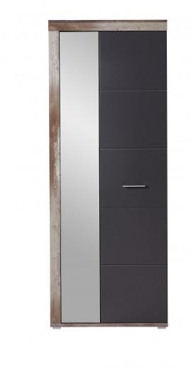 Dulap hol din pal si MDF, cu oglinda si 2 usi Krone Grafit / Natur, l77xA38xH202 cm