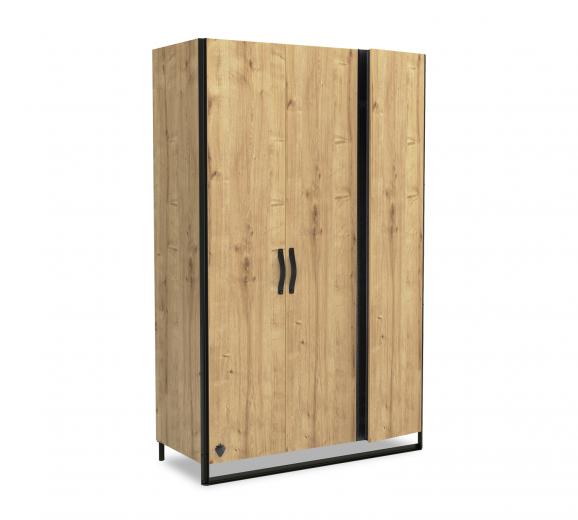 Dulap din pal si metal cu 3 usi si 1 sertar, pentru tineret Wood Metal Natural / Negru, l132xA62xH210 cm
