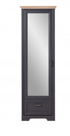 Dulap hol din MDF cu oglinda, 1 usa si 1 sertar, Jessie Grafit, l65xA41xH204 cm