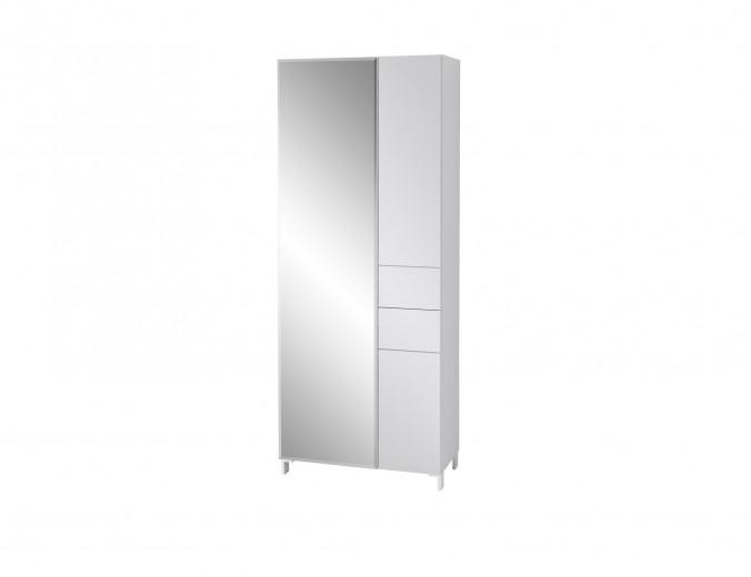 Dulap hol din MDF cu oglinda si 3 usi, Kalis Gri, l80xA39xH200 cm