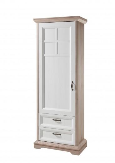 Dulap hol din pal, cu 1 usa si 2 sertare Ava Alb / Stejar, l74xA43xH208 cm