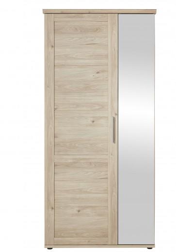 Dulap hol din pal cu oglinda si 2 usi, Fines Natural, l92xA40xH196 cm