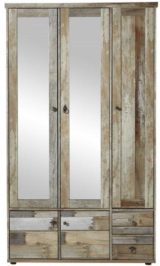 Dulap hol din pal cu oglinda, 5 usi si 2 sertare Bazna Natur / Gri inchis, l109xA40xH188 cm
