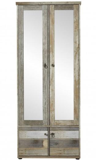 Dulap hol din pal cu oglinda si 4 usi Bazna Natur / Gri inchis, l78xA40xH188 cm