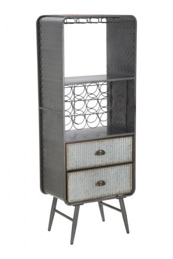 Cabinet metalic pentru sticle de vin, cu 2 sertare Illinois Gri, l55xA35xH145 cm