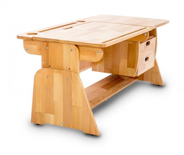 Masa de birou din lemn de fag, Ecodesk II, L120xl55h46 cm