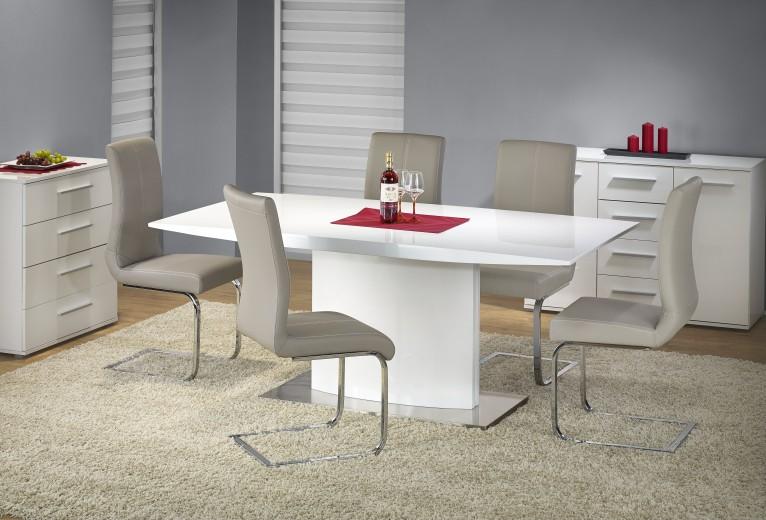 Set masa din MDF si metal Elias White + 4 scaune K219 Cappuccino, L180xl90xH76 cm