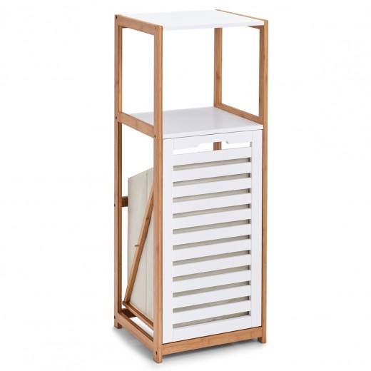 Etajera cu cos de rufe incorporat, Bamboo MDF White, l36xA33xH98 cm