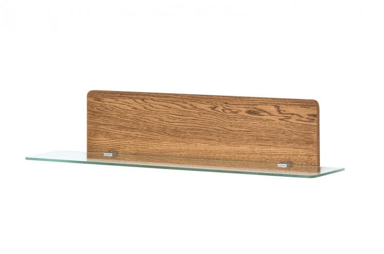 Etajera din furnir si sticla cu LED inclus Montenegro 34 Small Stejar Rustic, l105xl23xH23 cm