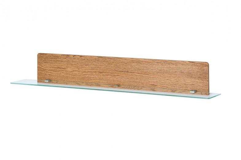 Etajera din furnir si sticla cu LED inclus Montenegro 35 Large Stejar Rustic, l160xl25xH23 cm
