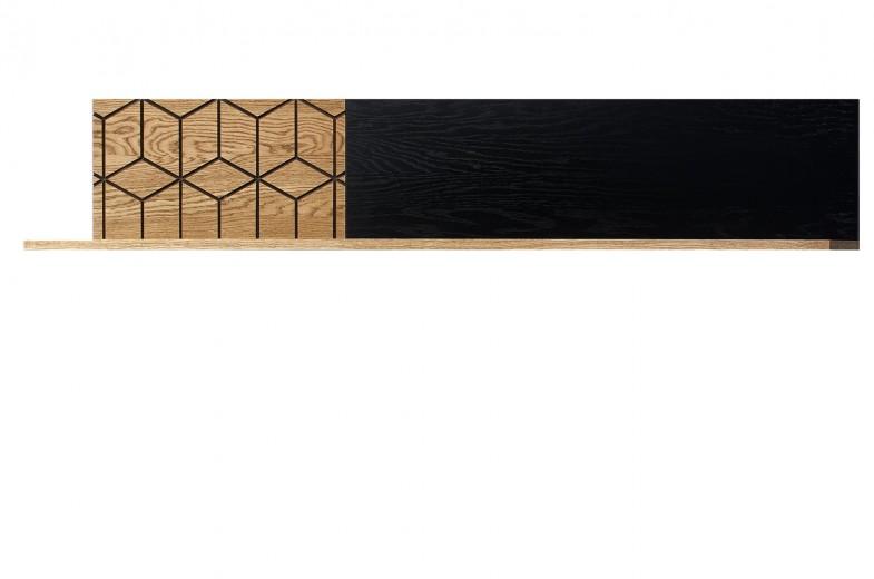 Etajera din lemn si furnir Large Mosaic 35 Stejar / Negru, L170xl25xH28 cm
