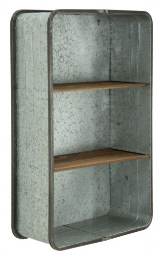 Etajera metalica suspendata, cu rafturi din lemn de brad Woot Gri, l50xA20xH80,5 cm