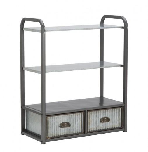 Etajera suspendata pentru baie din metal, cu 2 sertare Illinois C Gri, l63xA30xH76,5 cm
