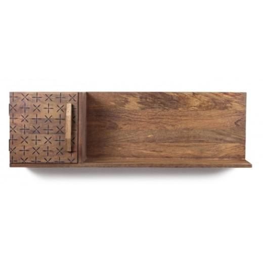 Etajera suspendata din lemn de mango, cu usa pe partea stanga Emira Natural, l103xA20xH31,9 cm