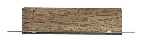 Etajera suspendata din furnir si sticla Negro Small 34 Stejar Rustic, l108xA25xH23 cm