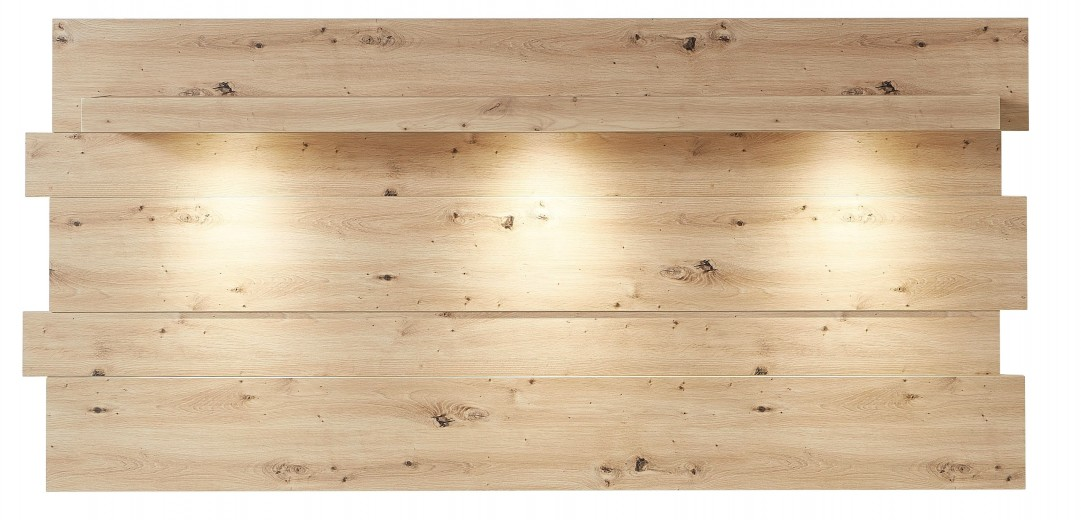 Etajera suspendata din MDF cu LED inclus Loftis Stejar, l202xA24xH93 cm