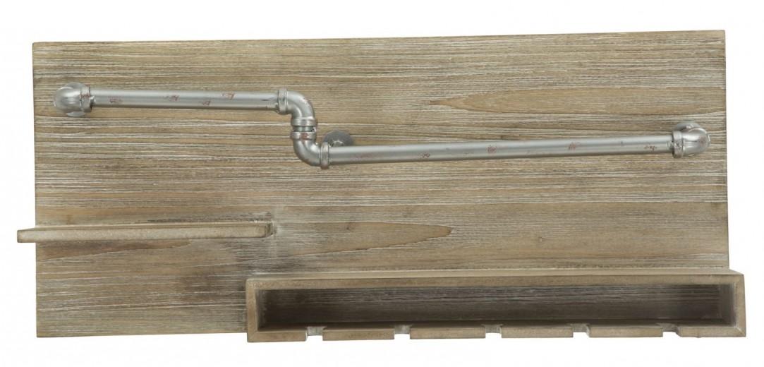 Etajera suspendata din MDF si metal, pentru sticle de vin si pahare Tube Natural, l70xA11xH30 cm