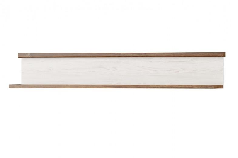 Etajera suspendata din pal Country 35 Alb / Stejar, l141xA22xH23 cm