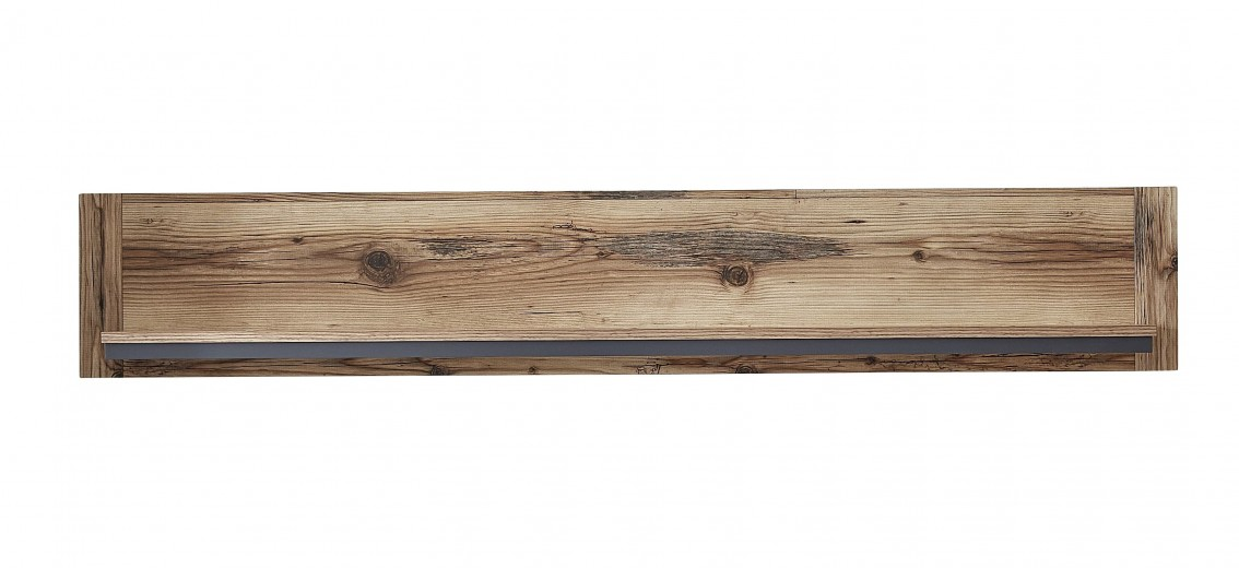 Etajera suspendata din pal Pato Small Natural / Grafit, l155xA22xH26 cm
