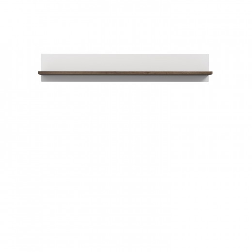 Etajera suspendata din pal, Wafi Stejar / Alb, l155xA21,9xH25,6 cm