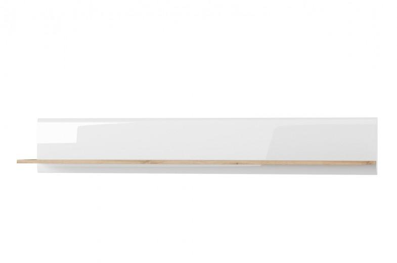 Etajera suspendata din pal Wood 35 Alb / Stejar Wotan, l155xA24xH24 cm
