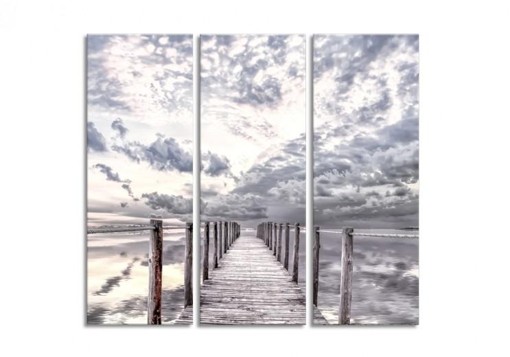 Tablou 3 piese Canvas By The Sea Clodus, 27x75 cm