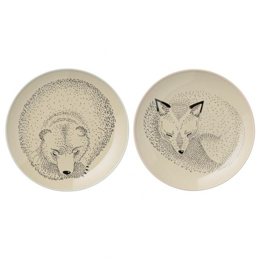 Set 2 Farfurioare Bear / Fox, Ø16 cm