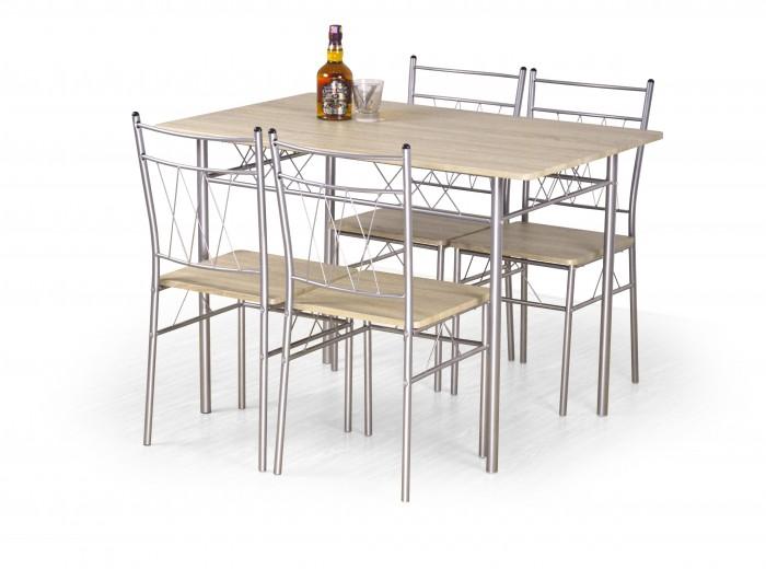 Set masa din MDF si metal + 4 scaune Faust Sonoma Oak, L110xl70xH75 cm
