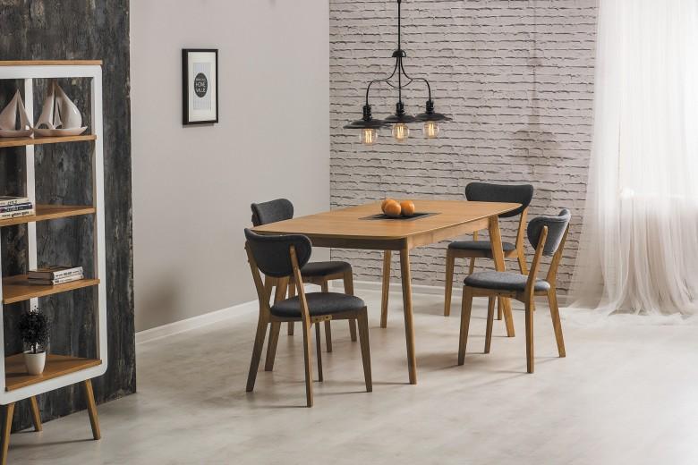 Set masa extensibila din MDF si lemn Felicio Oak + 4 scaune Andre Grey, L150-190xl90xH75 cm