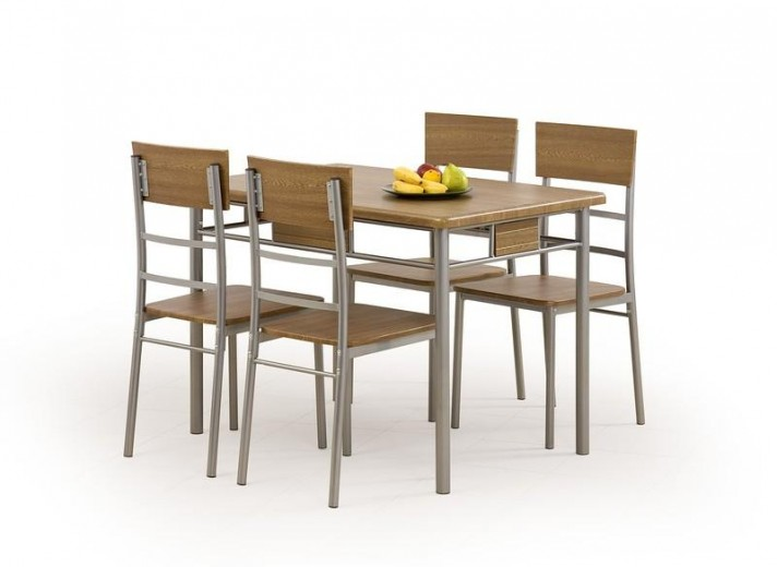 Set masa din MDF si metal + 4 scaune Natan Walnut, L110xl70xH75 cm