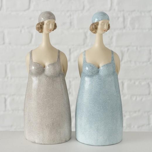 Figurina decorativa din polirasina Celeste Bleu / Gri, Modele Asortate, l8xA7xH20 cm