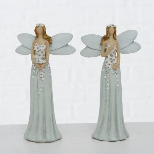 Figurina decorativa din polirasina Elysa Gri / Alb, Modele Asortate, l9xA5xH16,5 cm