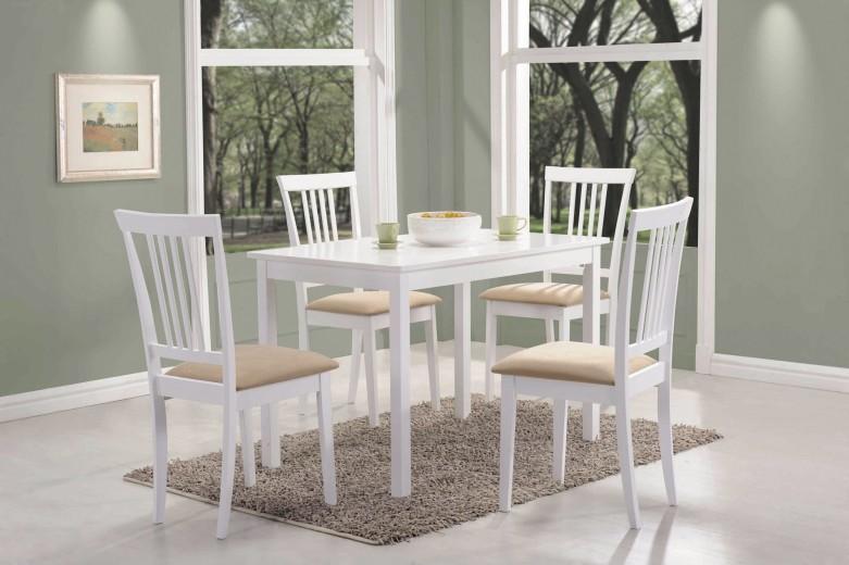 Set masa din MDF si lemn Fiord White + 4 scaune CD-63 White / Beige, L110xl70xH74 cm