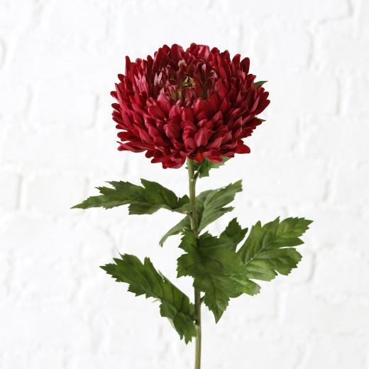Fir floare artificiala Chrysanthemums Rosu inchis / Verde, H75 cm