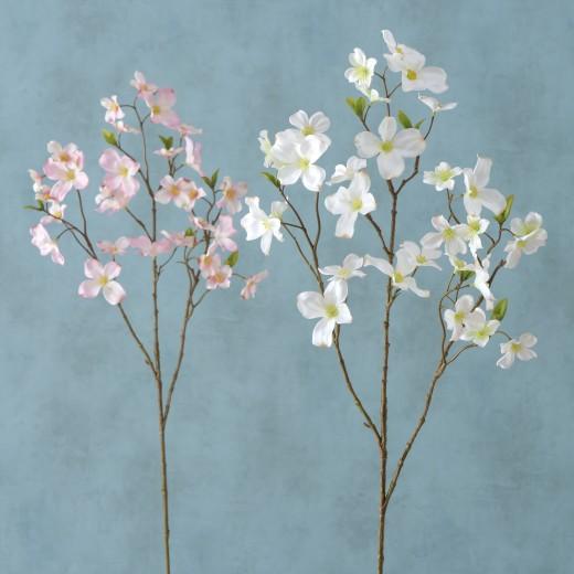 Fir floare artificiala Dogwood Roz deschis / Alb, Modele Asortate, H84 cm