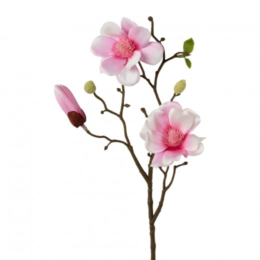 Fir floare artificiala, Magnolia Roz, H43 cm