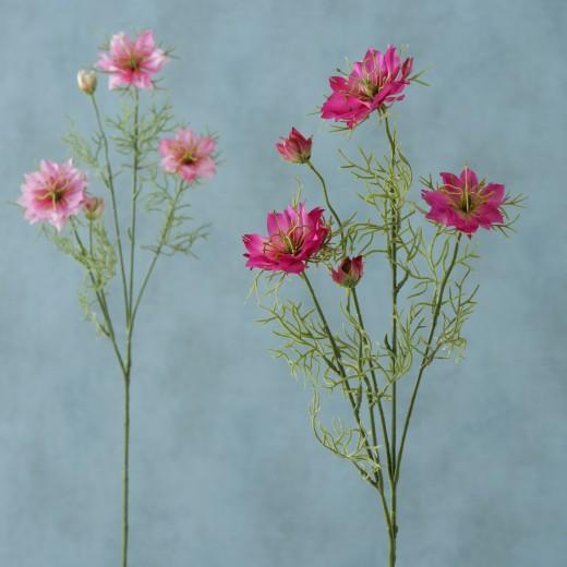 Fir floare artificiala Nigella Roz / Verde, Modele Asortate, H74 cm