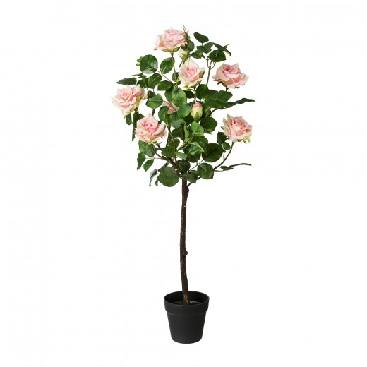 Floare artificiala in ghiveci, Rose Trunk Roz, H95 cm