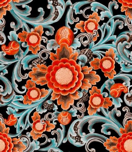 Set 3 role Tapet Imprimat Digital Floral Painting Dark