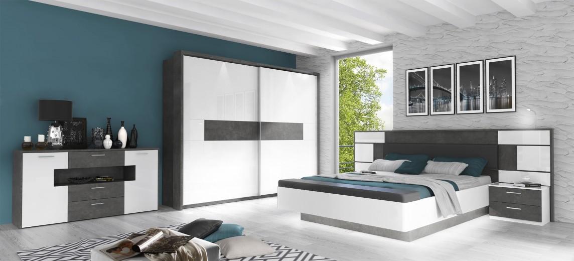 Set Mobila Dormitor din pal, cu pat 200 x 160 cm, 3 piese Forera Gri Inchis / Alb