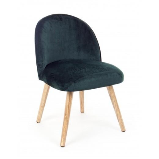 Fotoliu fix tapitat cu stofa, cu picioare din lemn Adeline Small Verde inchis, l47xA57xH76 cm