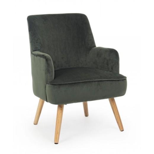 Fotoliu fix tapitat cu stofa, cu picioare din lemn Adeline Verde inchis, l60xA67xH79 cm