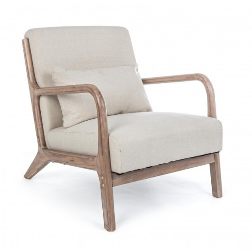 Fotoliu fix tapitat cu stofa, cu picioare din lemn Ancilla Natural, l66xA85xH74 cm