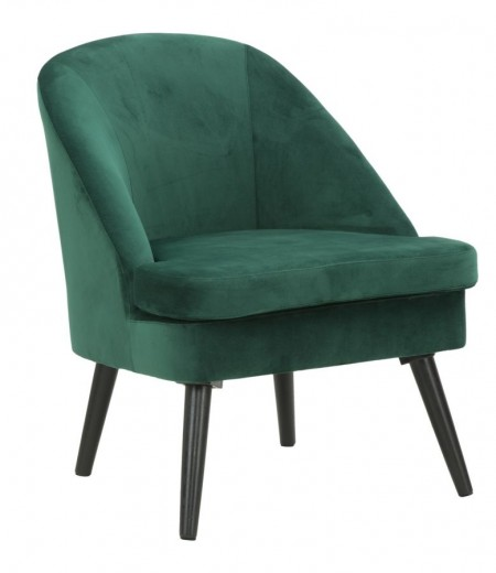 Fotoliu fix tapitat cu stofa, cu picioare din lemn Paris Verde inchis, l59xA67xH75,5 cm