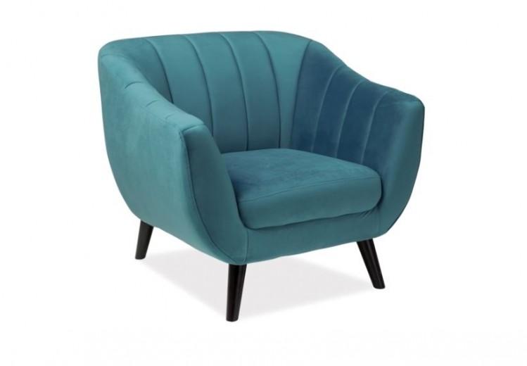 Fotoliu fix tapitat cu stofa, Elite 1 Velvet Turquoise, l91xA57xH83 cm