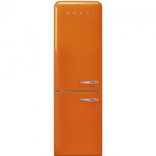 Frigider 2 usi cu deschidere stanga FAB32LON1, Portocaliu, 60 cm, Retro 50, SMEG